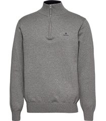 classic cotton half zip knitwear half zip jumpers grå gant