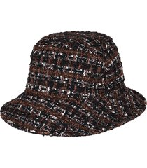 dolce & gabbana black and brown cotton blend bucket hat