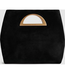 reiss belgravia - suede fold over clutch bag in black, womens
