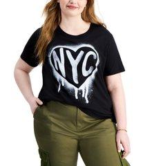 love tribe trendy plus size nyc stencil t-shirt