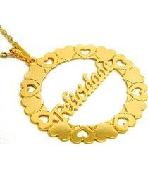 gargantilha horus import felicidade banho ouro 18k feminina