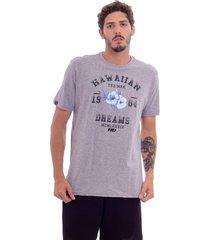 camiseta hawaiian dreams estampada varsity cinza - cinza - masculino - dafiti