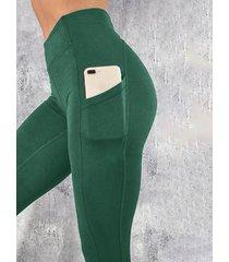 yoins basics leggings de cintura alta con bolsillo verde diseño