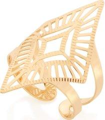 anel bijoulux  aro ajustável losango vazados semi jóia
