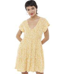 vestido corto manga corta escalonado amarillo flores mujer corona