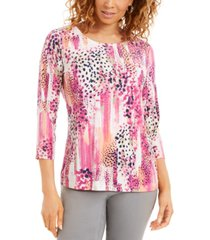 jm collection animal-print 3/4-sleeve jacquard top, created for macy's