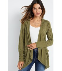 maurices womens green textured hooded cardigan