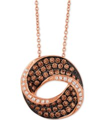 "le vian chocolatier diamond swirl 18"" pendant necklace (9/10 ct. t.w.) in 14k rose gold"