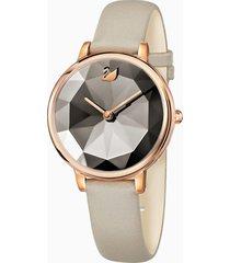 orologio crystal lake, cinturino in pelle, grigio, pvd oro rosa