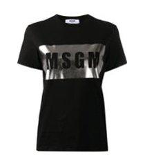 msgm camiseta com logo metálico - preto