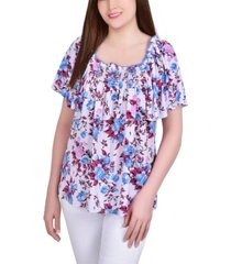 ny collection plus size short sleeve square neck crepe top with smocked front