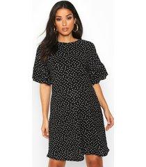 maternity polka dot frill detail shift dress, black