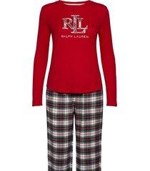 lrl knit top long pant pj folded pyjama rood lauren ralph lauren homewear