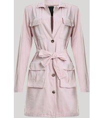 casaco trench coat feminino mindset com bolsos e faixa para amarrar rosa claro