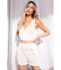 womens lightweight knit tie waist loungewear short - cream