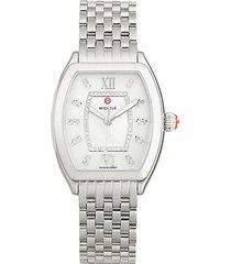 revele stainless steel, mother-of-pearl & diamond bracelet watch