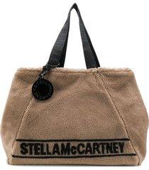 stella mccartney fur free fur logo tote - neutrals