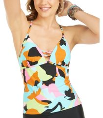 hula honey juniors' floral camo strappy tankini top, created for macy's women's swimsuit