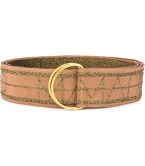 marco de vincenzo embroidered logo belt - brown