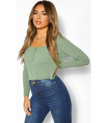 petite knitted button front top, sage