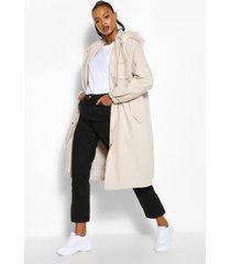 tall oversized long line faux fur parka jas, zand