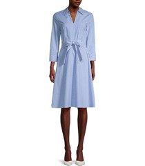 tommy hilfiger women's thompskin gingham shirtdress - blue white - size 8