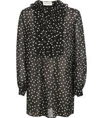 georgette polka dot dress with volant jabot