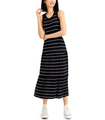 style & co tiered striped maxi dress, created for macy's