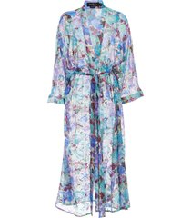 patbo blossom-print beach robe - purple