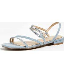 denimowe sandały na płaskiej podeszwie model ravena