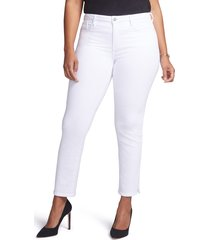 women's curves 360 by nydj slim straight leg ankle jeans, size 10 - white
