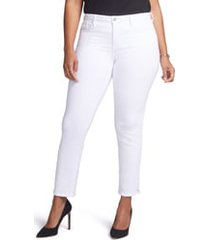 women's curves 360 by nydj slim straight leg ankle jeans, size 6 - white