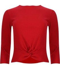 camiseta acanalada con nudo color rojo, talla 16