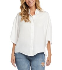 karen kane dropped-shoulder high-low top