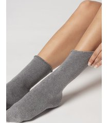 calzedonia long thermal cotton socks woman grey size tu