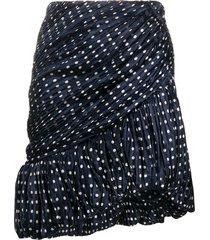 tory burch silk mini party skirt - blue
