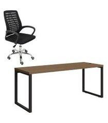 mesa de escritório kappesberg 1.90m com cadeira trevalla tl-cde-34-1