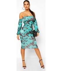 oriental bardot longsleeve midi dress, green