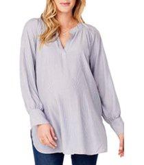 ingrid & isabel(r) split neck maternity blouse, size medium in blue pinstripe at nordstrom