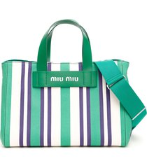 miu miu multicolor striped shopper