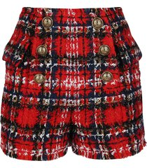 balmain red cotton-wool blend shorts