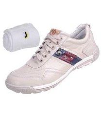 kit sapatênis bm brasil casual branco e meia