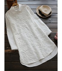 camicette bianche ricamate casual da donna