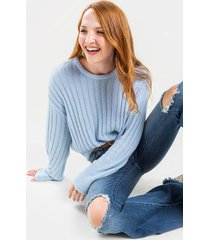 mallory long sleeve solid rib pullover - blue
