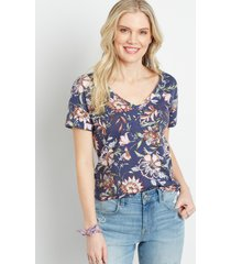 maurices womens 24/7 floral drop shoulder classic tee blue