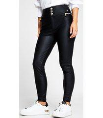 river island womens petite black zip pocket pu skinny pantss