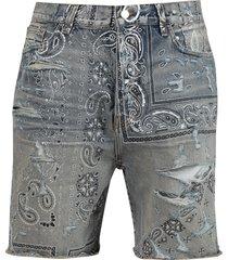 screen print bandana denim shorts, clay indigo