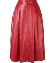 alexander mcqueen pleated a-line skirt - red