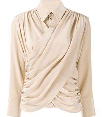 akira naka long sleeve draped front blouse - brown