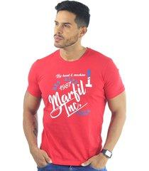 camiseta hombre manga corta slim fit rojo marfil alps